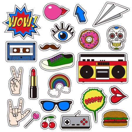 sew tags: Retro patch badges set. Collection of cartoon icons, stickers and stripes in vintage comic style.
