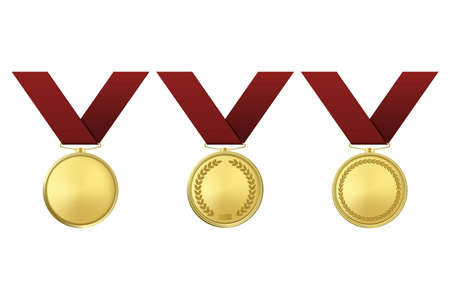 Golden award medals set isolated on white background.