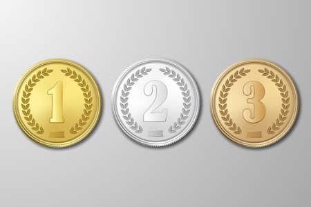 Oro, plata y bronce adjudicación medallas establecidos en el fondo gris. Los primeros, segundos, terceros premios. La primera, segunda, tercera ilustración prizes.Vector EPS10.