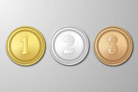 Gold, silver and bronze award medals set on gray background. The first, second, third prizes. The first, second, third prizes.Vector EPS10 illustration.