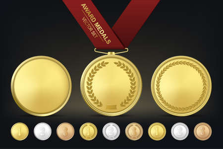 Vector gold, silver and bronze award medals set. Vector EPS10 illustration.
