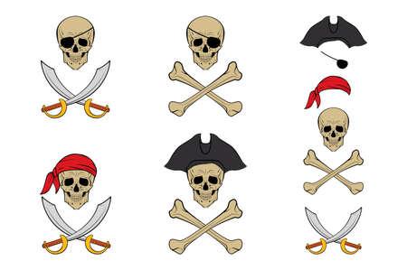 Pirate Skull icon set. Vector design templates.