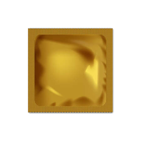 Realistic blank packaging foil wet wipes, food packing or condom template.