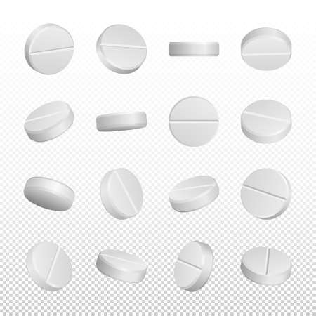 Realistic white medical pills isolated on white background.