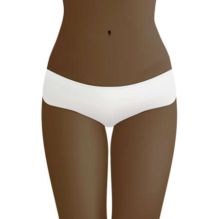 woman hygiene protection: Beautiful woman s body in white bikini panties. Realistic vector template for design. Women health and intimate hygiene concept.