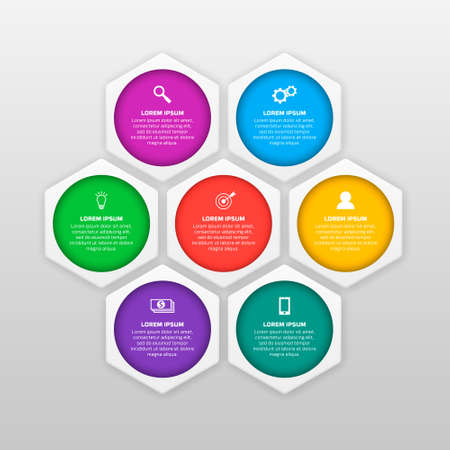 infographics template with six options in material design style. It can be used as a chart, numbered banner, presentation, graph, report, web design etc.
