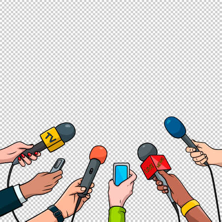 Journalism concept illustration in pop art comic style. Set of hands holding microphones and voice recorders. Hot news template.