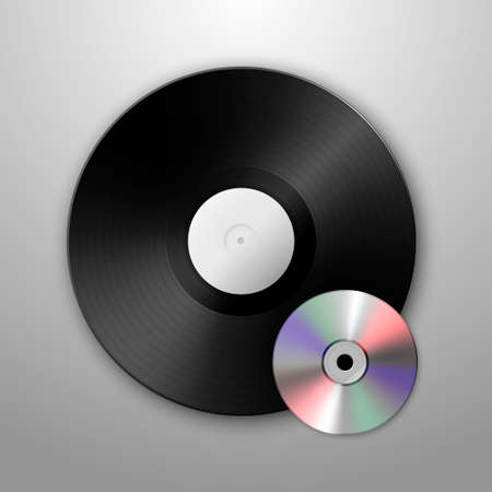 blu ray: Realistic vector music gramophone vinyl LP record and cd icons. Design template. Illustration