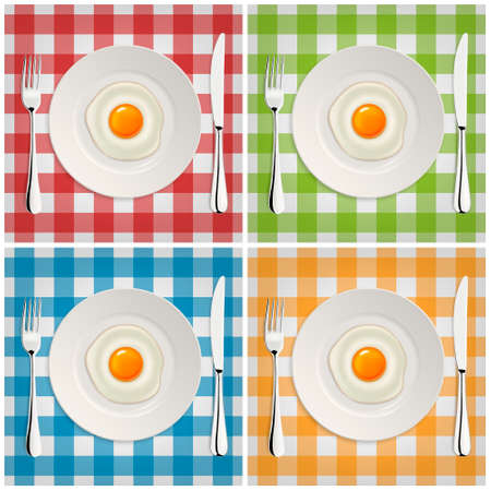 side dish: Realistic vector fried egg icon on a plate with fork and knife. Design template.