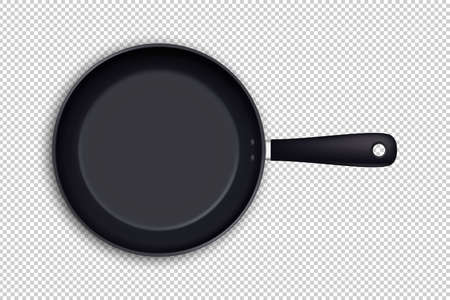 Icône de vecteur poêle à frire vide réaliste en vue de dessus isolé sur fond transparent. Modèle de conception.