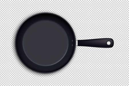 Vector realistische leere Bratpfannenikone in der Draufsicht, die auf transparentem Hintergrund lokalisiert wird. Designvorlage. Vektorgrafik