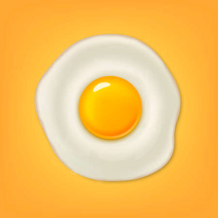 Realistic vector fried egg icon on yellow background. Design template.