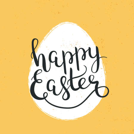 Happy Easter hand-drawn lettering decoration text, template for greeting cards, invitations, banners, gifts, prints and posters, background with calligraphic inscription, grunge effect can be removed.