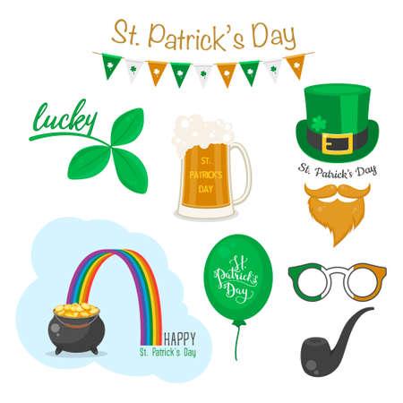 Saint Patrick s day symbols. Vector icon set. National Irish holiday.