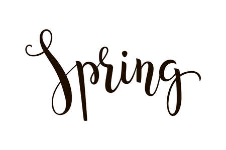 Spring - hand-drawn lettering decoration text on white background. Design template for greeting cards, invitations, banners, gifts, prints, posters etc. Illustration