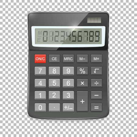 Vector realistic calculator icon isolated on transparent background, design template in EPS10.