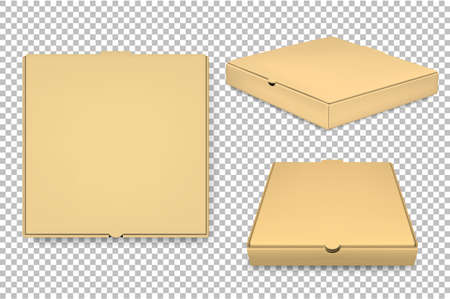 Vector blank pizza box design template set isolated. EPS10.