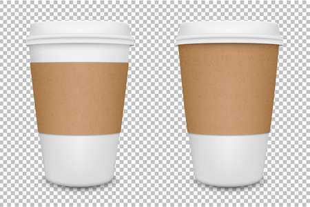Vector realistic blank paper coffee cup set isolated. Vector EPS10.