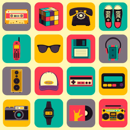 pager: Vector old style equipments, accessories and things icons set.