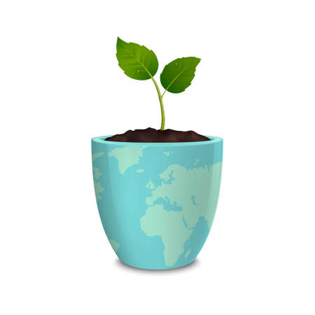 environmen: Ecology concept. Earth Day, World environmen day, Save the Earth or Green day. Vector background with sprout in a flower pot with a print of the Earth, isolated on white background. EPS10. Illustration