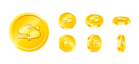 Vector gold game coin set isolated. Design templates in Eps10. Illustration