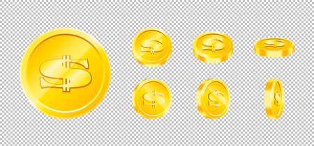 Vector gold game coin set isolated. Design templates in Eps10. Ilustrace