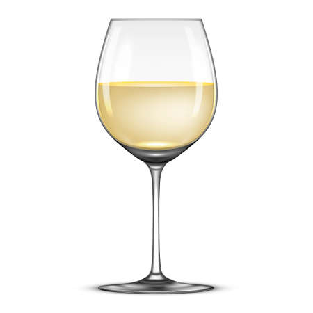Vector realistic wineglass with white wine icon isolated on white background.