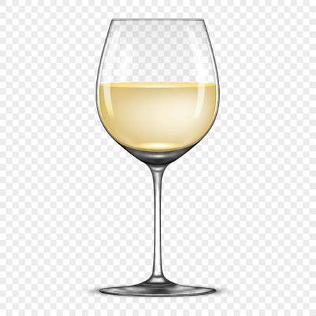 투명 한 배경에 고립 화이트 와인 아이콘으로 벡터 현실적인 와인 글라스. EPS10에서 디자인 템플릿입니다.