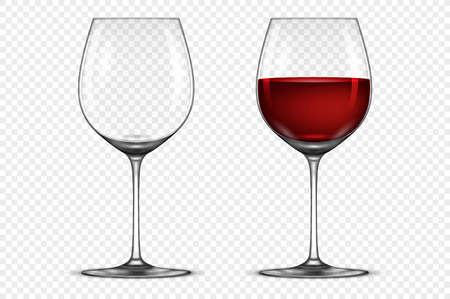 Vector realistic wineglass icon set - empty and with red wine, isolated on transparent background