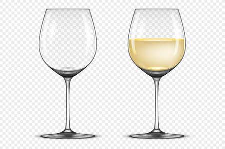 Vecteur réaliste wineglass icône ensemble vide et blanc isolé sur fond blanc. modèle avec un modèle de conception en cyrillique