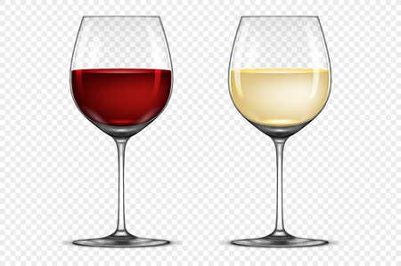 Vector realistische wijnglas icon set - met witte en rode wijn, geïsoleerd op transparante achtergrond. Stock Illustratie