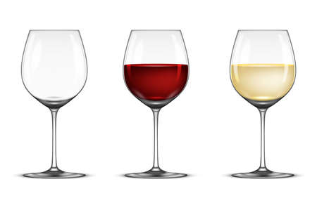 Vector realistic wineglass icon set - empty, with white and red wine, isolated on white background. Design template in EPS10. Illustration
