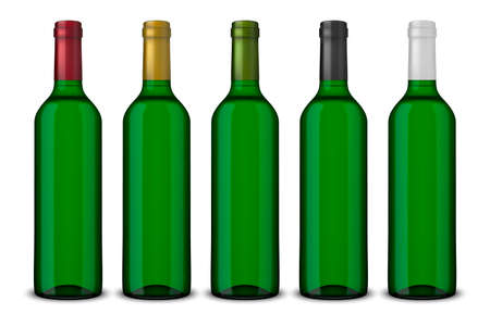 Set 5 realistic vector green bottles of wine without labels isolated on white background. Design template in EPS10.