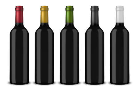 Set 5 realistic vector black bottles of wine without labels isolated on white background. Design template in EPS10. Illustration