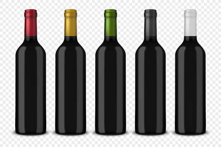 Set 5 realistic vector black bottles of wine without labels isolated on transparent background. Design template in EPS10.