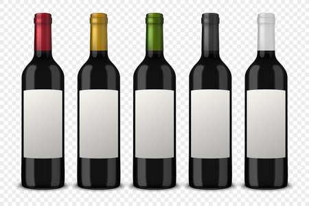 Conjunto de 5 botellas de vino realista vector de vino sin etiquetas aisladas sobre fondo transparente. Plantilla de diseño en EPS10.