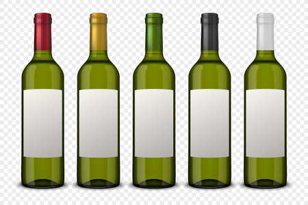 Set 5 realistische vector groene flessen wijn met witte labels Stock Illustratie