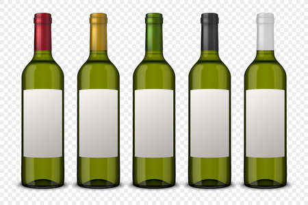 Set 5 realistic vector green bottles of wine with white labels