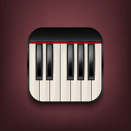 Vector photorealistic piano keyboard icon. Design template in EPS10.