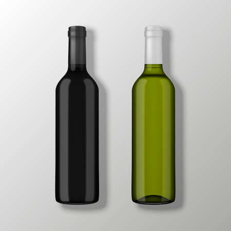 Two realistic vector wine bottles in top view without labels on gray background. Design template in EPS10.