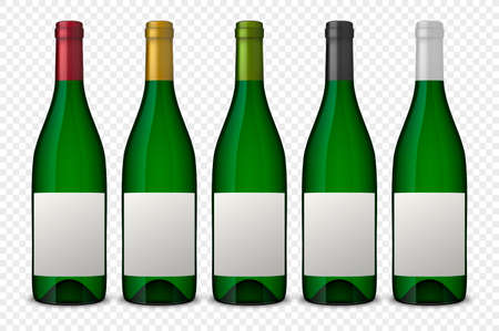 Set 5 realistic vector green bottles of wine with white labels isolated on transparent background. Design template in EPS10.