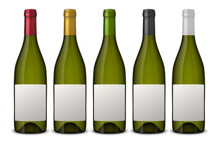 5 realistic vector green wine bottles with white labels isolated on white background. Design template in EPS10.