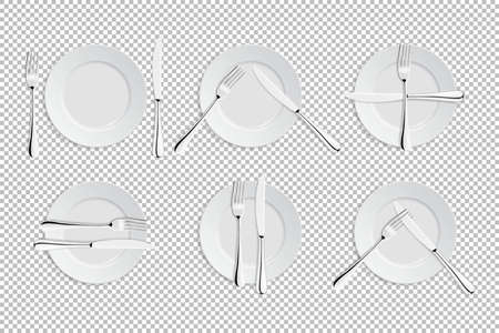 Vector realistic cutlery and signs of table etiquette. Catering facilities isolated icons. Set of of forks, table knives and plates. EPS10 illustration of tableware for cafes, restaurants etc. Illustration