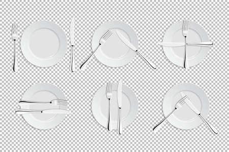 Vector realistisch bestek en tekenen van tafeletiket. Catering faciliteiten geïsoleerde pictogrammen. Set van vorken, tafel messen en borden. EPS10 illustratie van servies voor cafes, restaurants, enz. Stock Illustratie