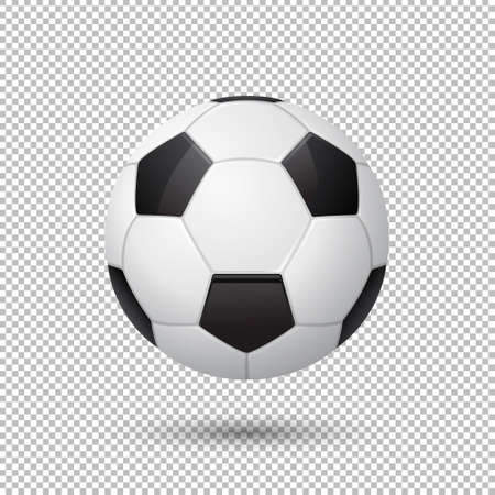 temlate: Vector realistic flying soccer ball closeup isolated on transparent background. Design template in EPS10.