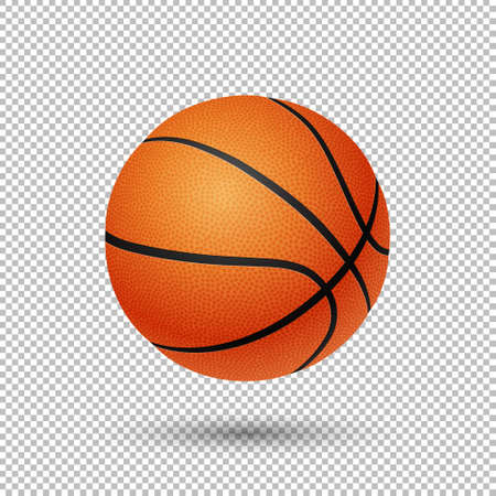 temlate: Vector realistic flying basketball closeup isolated on transparent background. Design template in EPS10. Illustration