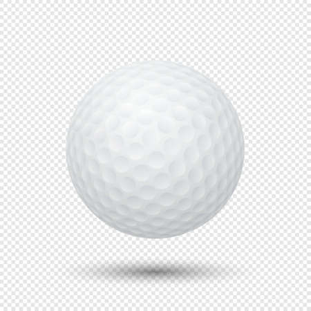 Vector realistic flying golf ball closeup isolated on transparent background. Design template in EPS10. 矢量图像