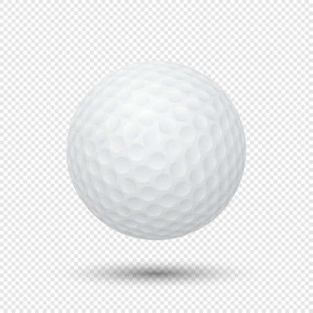 Vector realistische vliegende golfbalclose-up die op transparante achtergrond wordt geïsoleerd. Ontwerpsjabloon in EPS10.