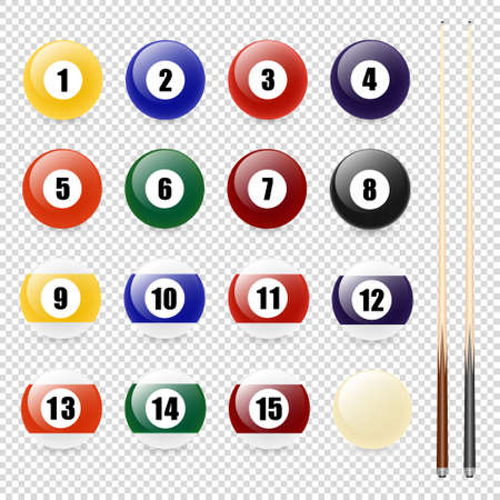 temlate: Vector realistic pool - billiard balls and cue closeup isolated on transparent background. Design template in EPS10. Illustration