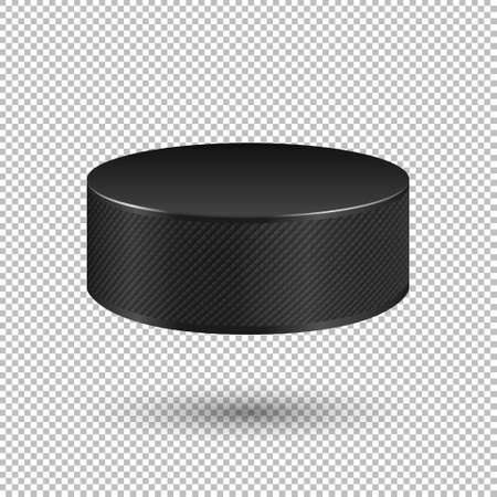 temlate: Vector realistic flying ice hockey puck closeup isolated on transparent background. Design template in EPS10. Illustration